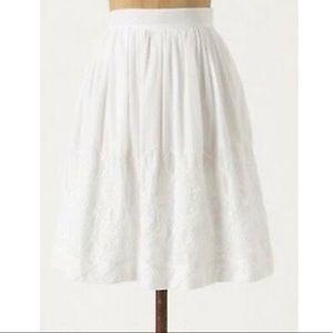 White embroidered Anthropologie Skirt